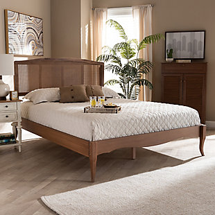 Baxton Studio Marieke Vintage French Inspired Rattan Queen Platform Bed, Brown, rollover