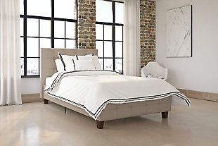 Rose Twin Upholstered Bed, Tan, rollover