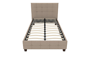 Rose Twin Upholstered Bed, Tan, large
