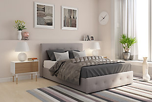 Rose Full Upholstered Bed with Storage, Gray, rollover