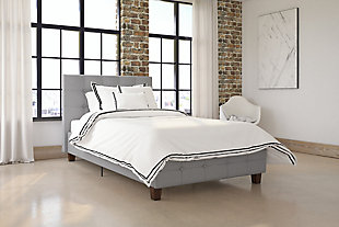 Rose Twin Upholstered Bed, Gray, rollover