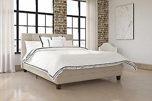 Rose Full Upholstered Bed, Tan, rollover