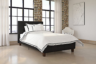 Rose Twin Upholstered Bed, Black, rollover