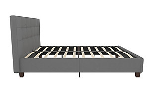 Rose Full Upholstered Bed, Gray, large