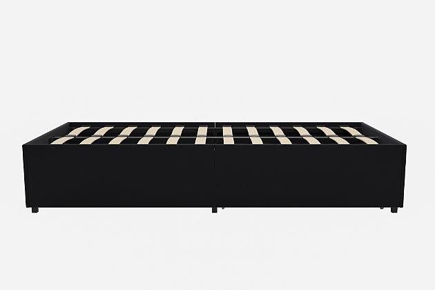 Maven Platform Twin Bed with Storage, Black, large