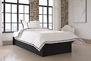 Maven Twin Upholstered Platform Bed, Black, rollover
