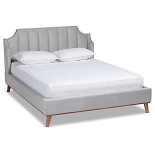 Baxton Studio Adelie Velvet Upholstered Wood King Wingback Platform Bed, Gray, large