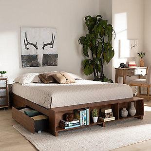 Baxton Studio Arthur Wood Queen Platform Bed with Built-In Shelves, Brown, rollover