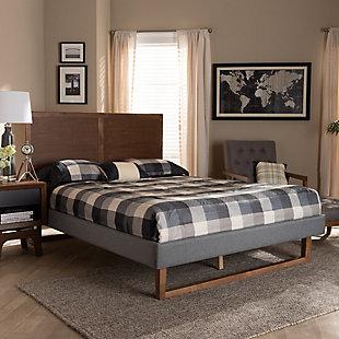 Baxton Studio Allegra Mid-Century Upholstered and Wood Queen Platform Bed, Gray, rollover
