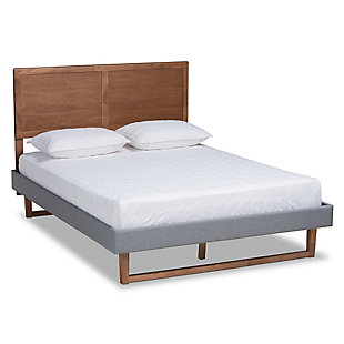 Baxton Studio Allegra Mid-Century Upholstered and Wood Queen Platform Bed, Gray, large
