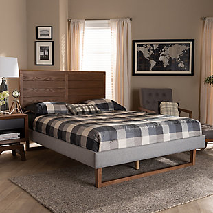 Baxton Studio Claudia Upholstered and Wood Queen Platform Bed, Gray, rollover