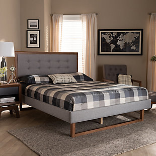Baxton Studio Livinia Upholstered and Wood Queen Platform Bed, Gray, rollover
