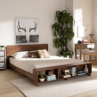 Baxton Studio Regina Wood Queen Platform Storage Bed, Brown, rollover