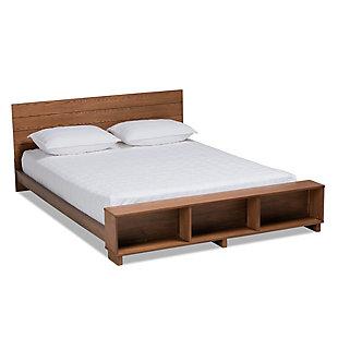 Baxton Studio Regina Wood Queen Platform Storage Bed, Brown, large