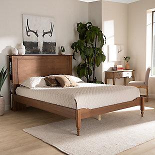 Baxton Studio Danielle Wood Queen Platform Storage Bed, Brown, rollover