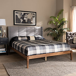 Baxton Studio Edmond Upholstered and Wood Queen Platform Bed, , rollover