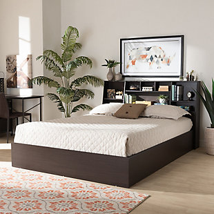 Baxton Studio Geoffrey Wood Queen Platform Storage Bed with Shelves, , rollover