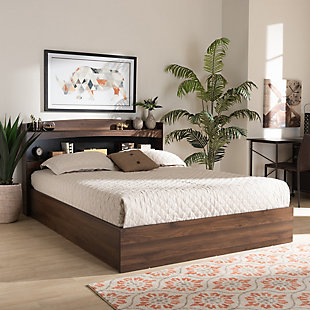 Baxton Studio Christopher Wood Queen Platform Bed with Shelves, , rollover
