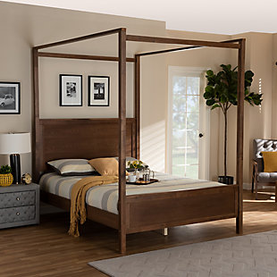 Baxton Studio Veronica Wood Queen Platform Canopy Bed, Brown, rollover