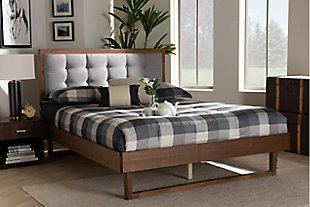 Baxton Studio Viviana Upholstered and Wood Queen Platform Bed, Gray, rollover