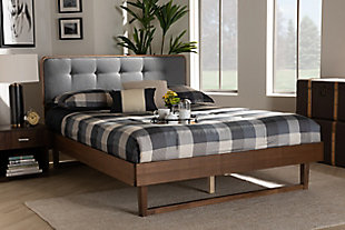 Baxton Studio Natalia Mid-Century Upholstered and Wood Queen Platform Bed, Gray, rollover