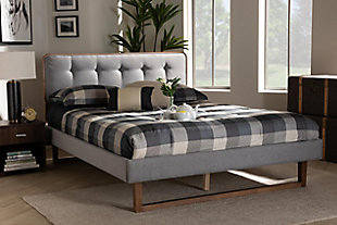 Baxton Studio Sofia Mid-Century Upholstered and Wood Queen Platform Bed, Gray, rollover
