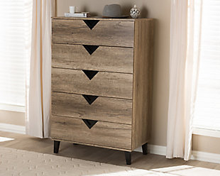 Modern Wood 5-Drawer Chest, , rollover