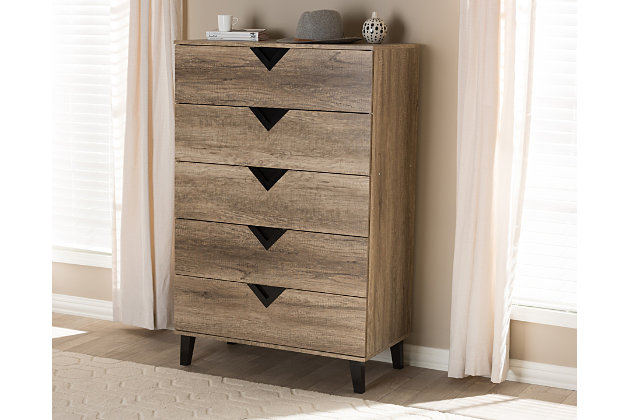 Modern Wood 5-Drawer Chest, , large