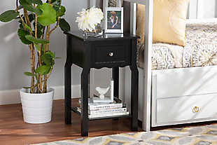 Baxton Studio Hailey Wood 1-Drawer Nightstand, Black, rollover
