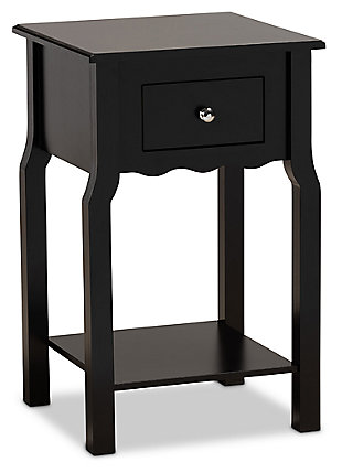 Baxton Studio Hailey Wood 1-Drawer Nightstand, Black, large