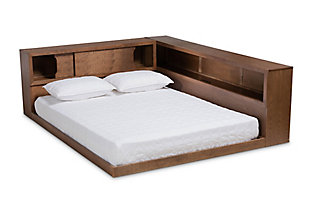 Baxton Studio Erie Wood Queen Platform Storage Bed with Built-In Outlet, , large