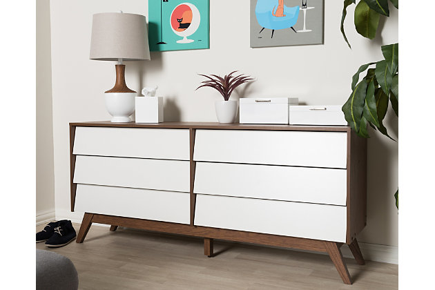 Hildon Wood 6-Drawer Storage Dresser, , large