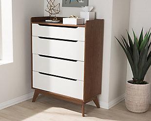 4 Drawer Wood Storage Chest, , rollover