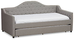 Tufted Day Bed with Trundle, Light Gray, large