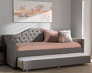Tufted Day Bed with Trundle, Light Gray, rollover