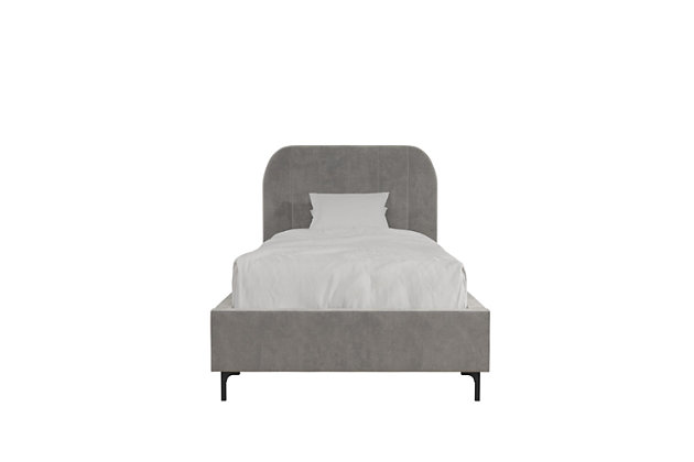 DHP Atwater Living Carly Twin Upholstered Bed, Light Gray, large