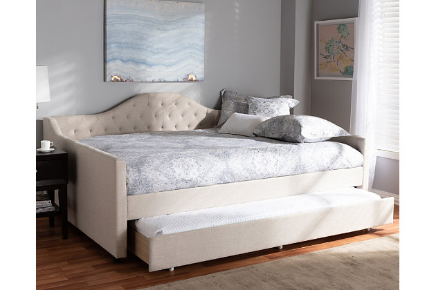 Curved Upholstered Queen Daybed with Trundle, Beige, large