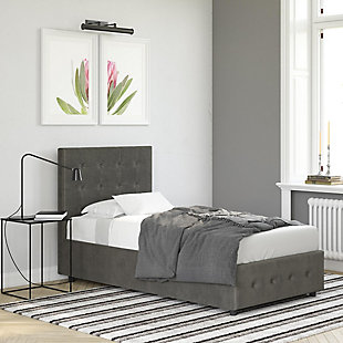 DHP Atwater Living Sydney Twin Upholstered Bed, Gray, rollover