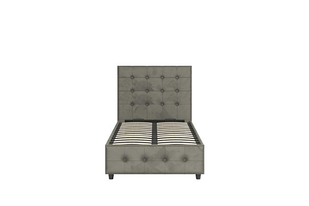 DHP Atwater Living Sydney Twin Upholstered Bed, Gray, large