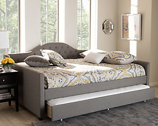 Curved Upholstered Queen Day Bed with Trundle, Gray, rollover