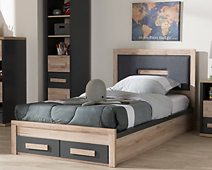 Two Tone Two-Tone 2-Drawer Twin Size Storage Platform Bed, , rollover