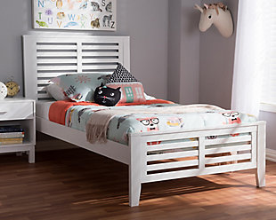 Sedona Wood Twin Platform Bed, White, rollover