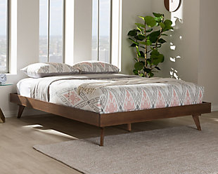 Wood Queen Bed Frame, Walnut, rollover