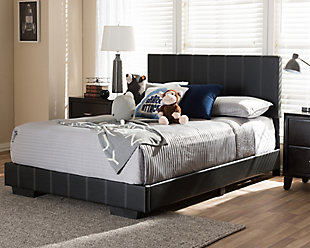 Low Profile Faux Leather Full Size Platform Bed, , rollover