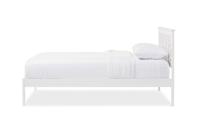 Celine Wood Queen Size Platform Bed, White, large