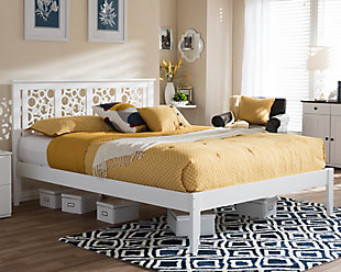 Celine Wood Queen Size Platform Bed, White, rollover