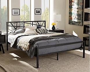 Barkley Metal Queen Platform Bed, Black, rollover