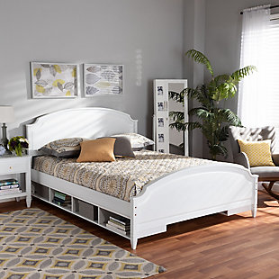 Baxton Studio Elise Classic and Traditional Transitional White Finished Wood Full Size Storage Platform Bed, , rollover