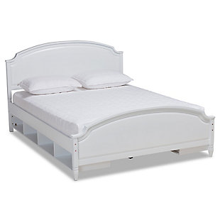 Baxton Studio Elise Classic and Traditional Transitional White Finished Wood Full Size Storage Platform Bed, , large