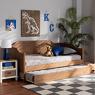 Baxton Studio Alya Classic Farmhouse Brown Wood Twin Size Daybed with Roll-Out Trundle Bed, Brown, large